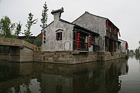 江南水乡房屋建筑摄影图