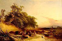 油画 骑士与村妇