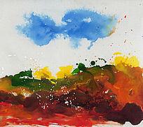 流彩抽象油画 写意 中国风
