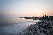 慢门拍摄海上日出