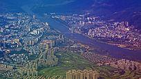 澜沧江两旁的景洪城市风光