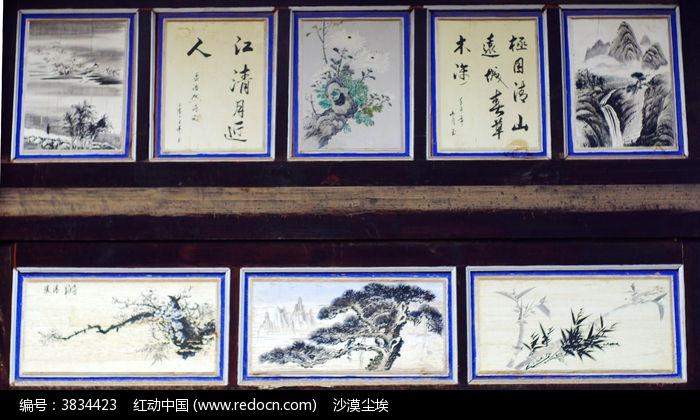原创摄影图 艺术文化 插画绘画 寺庙木墙壁上的书法彩画  请您分享
