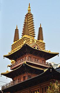 上海静安寺金字塔全景