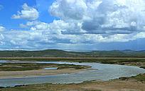蓝天白云大草原大气山河