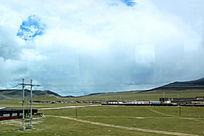 西藏蓝天白云大草原村部落