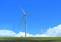 西藏蓝天白云大草原电杆风车