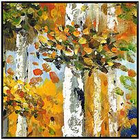 油画风景 白桦林油画 树林