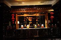 中式餐厅高档吧台接待台装扮装饰