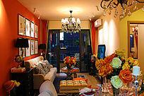 橙色欧美风的客厅装修图