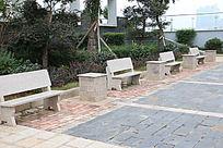大理石板长椅子
