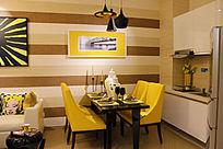 黄色主题厨房及餐厅装修图