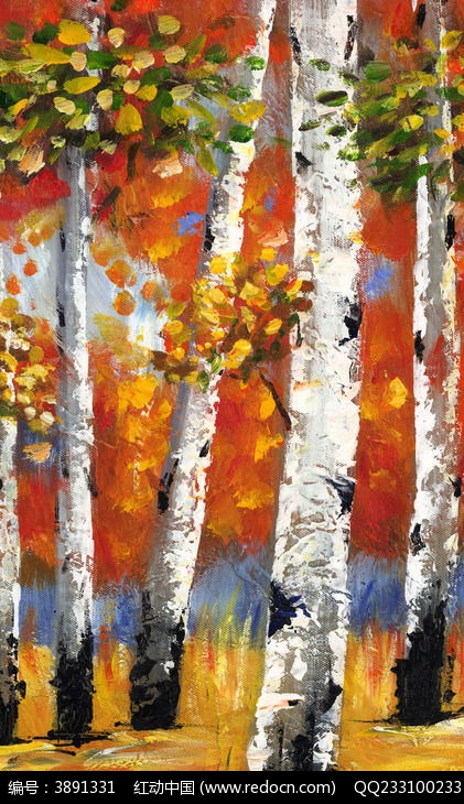 油画白桦林 风景油画图片