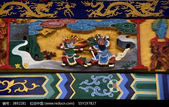 中式古建筑木制雕刻人物图片图片