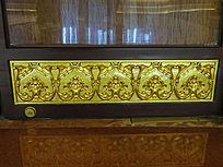 金色花卉二方连续纹样