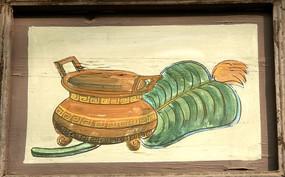 木板壁画芭蕉香炉