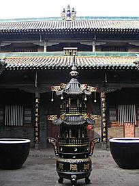 平遥古城城隍庙香炉与古建