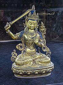 铜鎏金文殊菩萨像