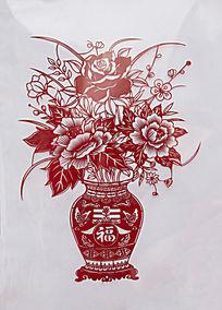 迎春福字花瓶剪纸