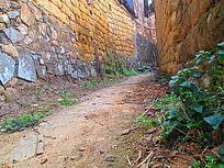 农村瓦砾房旁边的小路