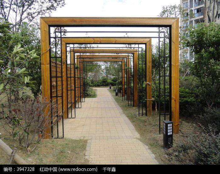 园林景观长廊手绘效果图