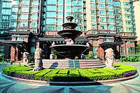 上海徐汇苑至尊公寓局部景观配套喷水池