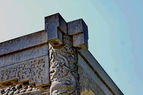 雕刻石柱顶子梅花