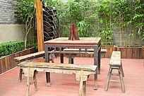 实木喝茶桌椅老北京板凳长
