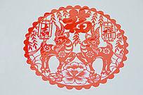 中国元素福字剪纸特写