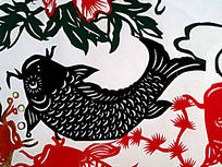 黑色鲤鱼剪纸