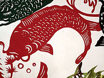 红色鲤鱼剪纸