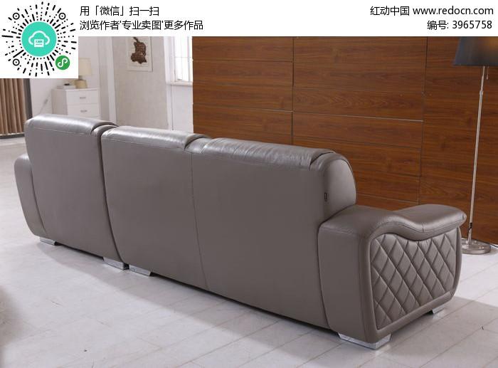 灰色沙发背面图片