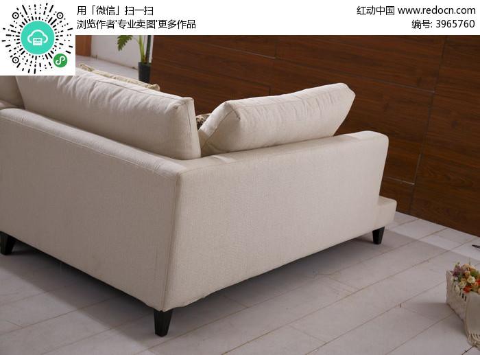 米灰色沙发背面图片