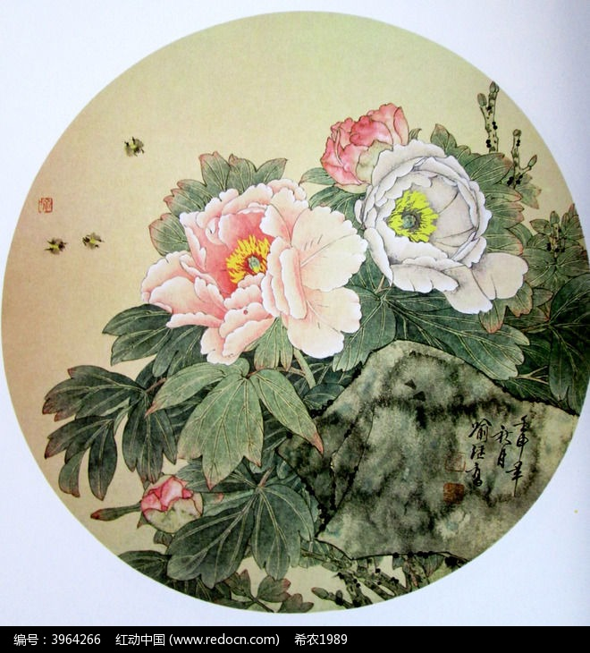 中国画牡丹花_中国画牡丹花蜂