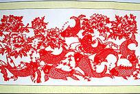 九福鲤鱼剪纸