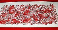 鲤鱼九福图剪纸