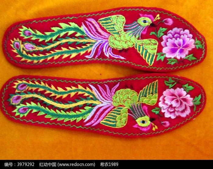 凤凰牡丹绣花鞋垫图片