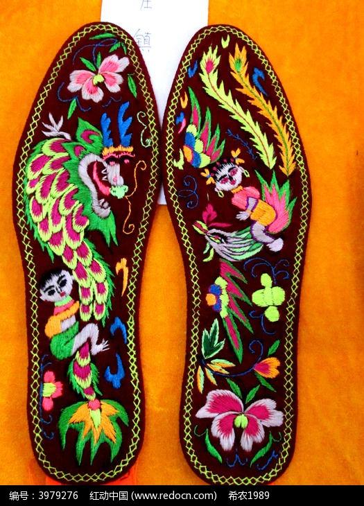 龙凤绣花鞋垫图片