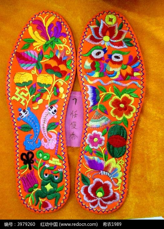 鸳鸯绣花鞋垫图片,高清大图
