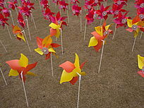 大宁灵石公园风车橙色阵