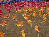 大宁灵石公园风车红橙阵