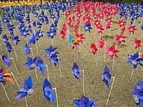 大宁灵石公园风车蓝红阵