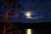 月光下的激流河