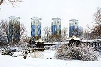 公园里的长亭与远处的高层住宅楼