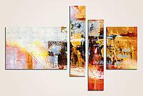 三联抽象油画