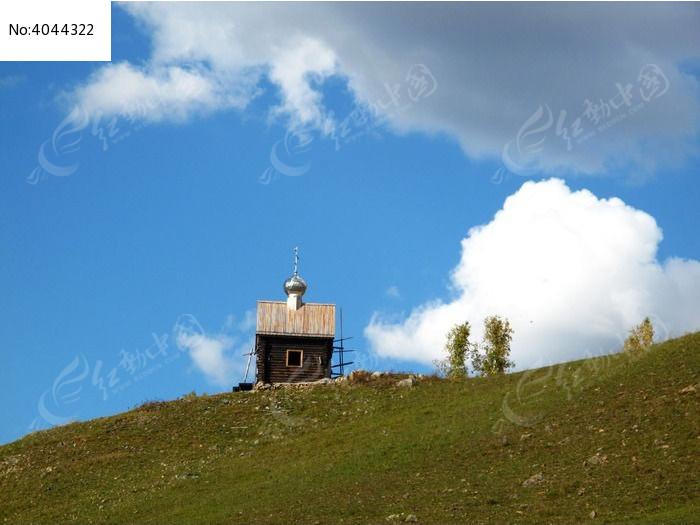 山顶欧式小房子图片