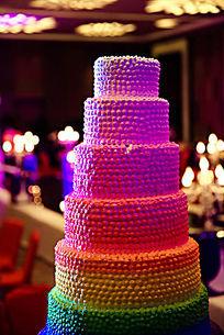 五彩婚礼庆典高层蛋糕