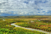 河流丛林秋色