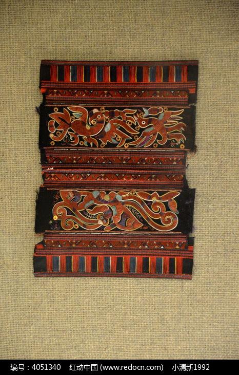 苗族剖绣动物纹袖片图片