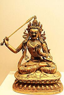 鎏金铜文殊菩萨坐像