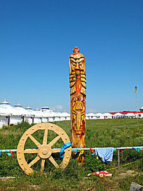 蒙古族木刻图腾柱